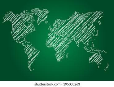 vector map of the world on blackboard