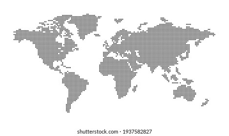 Vector map of the world with square dots