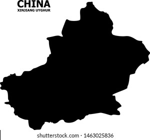 Vector Map of Xinjiang Uyghur Region with name. Map of Xinjiang Uyghur Region is isolated on a white background. Simple flat geographic map.
