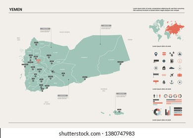 Vector map of Yemen. High detailed country map with division, cities and capital Sanaa. Political map,  world map, infographic elements.