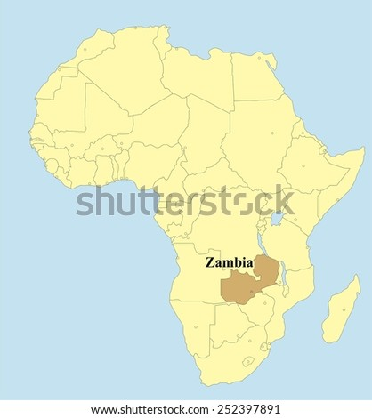 Vector Map Zambia Africa Stock Vector (Royalty Free) 252397891 ...