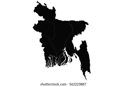 Vector map-bangladesh country. Black on white background