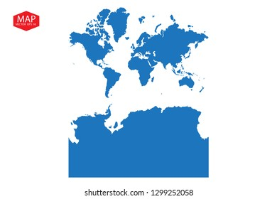 Vector map-continents With Antarctica country, continentsWithAntarctica map - blue pastel graphic background, worldKashmir2WithAntarctica map - blue pastel graphic background . - Vector