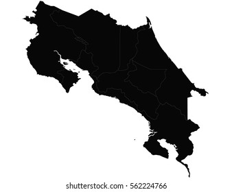 Vector map-costaRica country. Black on white background.
