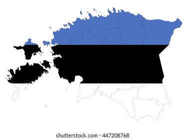 Vector map-estonia country on white background.