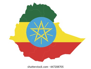 Vector map-ethiopia country on white background.