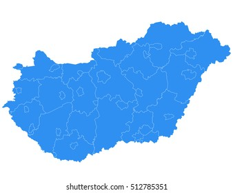 Vector map-hungary country on white background