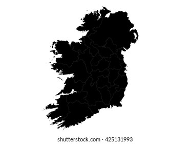 Vector map-Ireland country on white background.