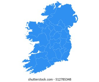 Vector map-Ireland country on white background