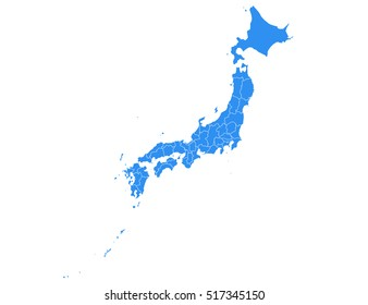 Vector map-japan country on white background