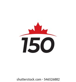 A vector maple leaf icon rising above a horizon with the number 150. This simple graphic represents the 150th anniversary of Canada.