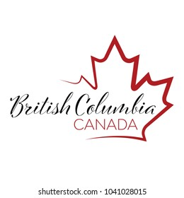 A vector maple leaf outline holding text that reads British Columbia, Canada.