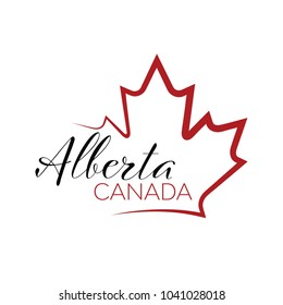A vector maple leaf outline holding text that reads Alberta, Canada.
