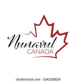 A vector maple leaf outline holding text that reads Nunavut, Canada.