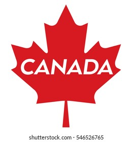 A vector maple leaf with text in the middle that says Canada.