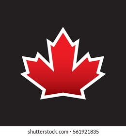 A vector maple leaf with a thick border. This classic symbol represents the country of Canada.