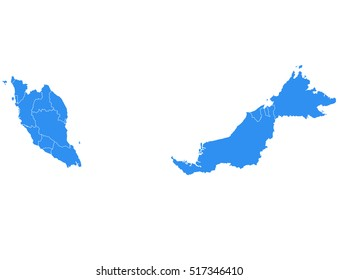 Vector map-Malaysia country on white background