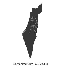 Vector map-palestine country on white background.
