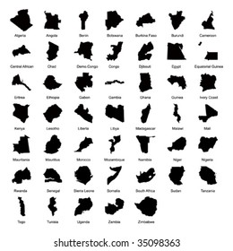 vector maps of 47 African countries.