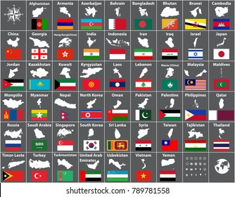 vector maps and flags of all asian countries arranged in alphabetical order