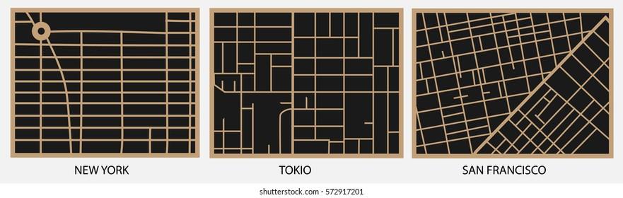 Vector maps of New York, Tokyo, San Francisco