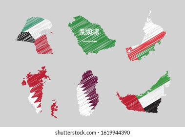 Vector maps in scribble sketchy style of Gulf Arabic countries or GCC (Gulf Cooperation Council): UAE, Qatar, Saudi Arabia, Kuwait, Bahrain and Oman
