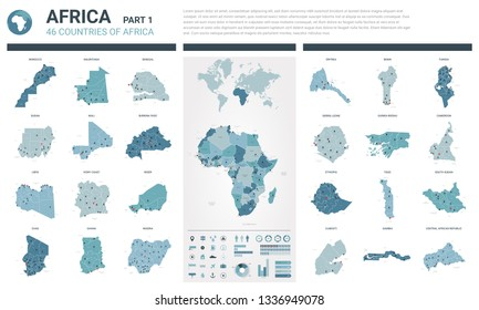 Vector maps set.  High detailed 46 maps of African countries with administrative division and cities. Political map, map of Africa continent, world map, globe, infographic elements.  Part 1.