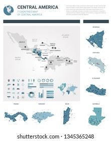 Vector maps set.  High detailed 7 maps of countries in Central America with administrative division and cities. Political map, map of America continent, world map, globe, infographic elements.