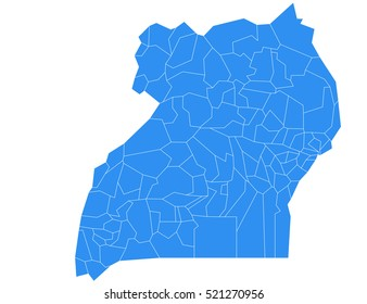 Vector map-uganda country on white background.