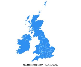 Vector map-uk country on white background