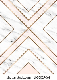 Vector marble background with gold geometric shapes.