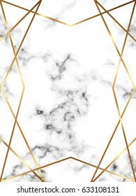 Vector marble background with gold lines and geometric polygonal frame.