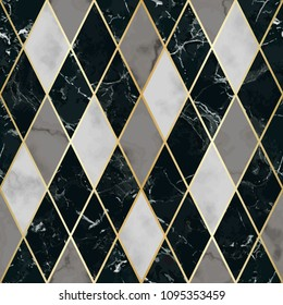 Vector marble seamless pattern with golden geometric diagonal lines. White, gray, black rhombus marbling surface, modern luxurious background, luxury wallpaper.