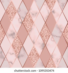 Vector marble seamless pattern with golden geometric diagonal lines. Gold glitter, white and pink rhombus marbling surface, modern luxurious background, luxury wallpaper.