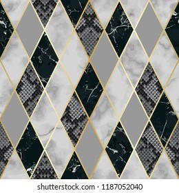 Vector marble and snakeskin seamless pattern with golden geometric diagonal lines. Black, white and grey rhombus marbling and reptile surface, modern luxurious background, luxury wallpaper.