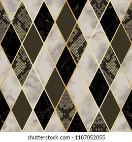 Vector marble and snakeskin seamless pattern with golden geometric diagonal lines. Brown and beige rhombus marbling and reptile surface, modern luxurious background, luxury wallpaper.
