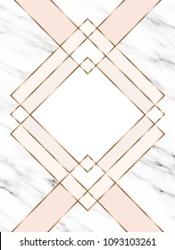 Vector marble template with gold geometric elements.