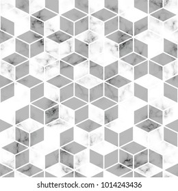 Vector marble texture, seamless pattern design with geometric lines and cubes, black and white marbling surface, modern luxurious background
