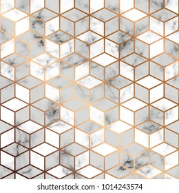 Vector marble texture, seamless pattern design with golden geometric lines and cubes, black and white marbling surface, modern luxurious background