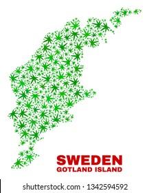 Vector marijuana Gotland Island map mosaic. Concept with green weed leaves for marijuana legalize campaign. Vector Gotland Island map is designed of marijuana leaves.