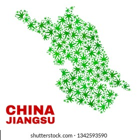 Vector marijuana Jiangsu Province map mosaic. Concept with green weed leaves for weed legalize campaign. Vector Jiangsu Province map is created with marijuana leaves.