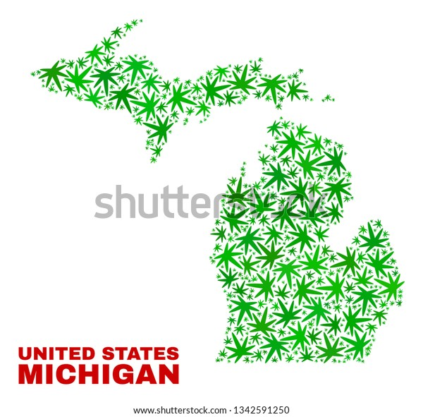 Vector marijuana Michigan State map collage. Concept with green weed leaves for weed legalize campaign. Vector Michigan State map is formed with weed leaves.