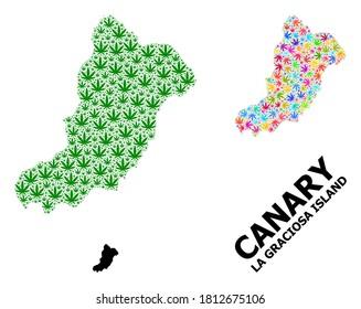 Vector marijuana mosaic and solid map of La Graciosa Island. Map of La Graciosa Island vector mosaic for marijuana legalize campaign.