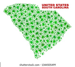 Vector marijuana South Carolina State map mosaic. Template with green weed leaves for weed legalize campaign. Vector South Carolina State map is composed with marijuana leaves.