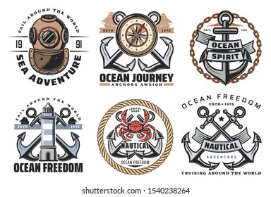 Vector marine heraldic symbols and labels of crossed anchors, lighthouse and vintage aqualung, compass and red giant crab. Ship anchor, ocean spirit and anchors aweigh quotes in maritime icons