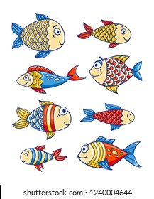 Vector marine set of cute cartoon colorful fishes. Sea life summer background