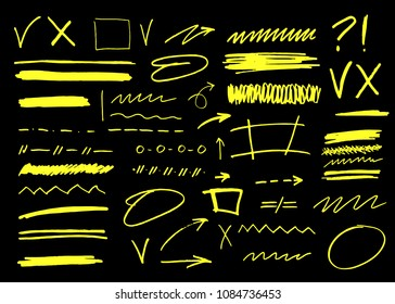 Vector marker brush stroke. Highlighter underline collection for business illustration