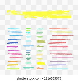 Vector markers. Drawn yellow marker stripes. multi-colored blots. Different colors vector blots.