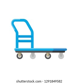 vector market service cart, platform hand truck or trolley / warehouse and cargo cart, delivery and lift, industry equipment, factory industrial loader / isolated on white / sign, icon and symbol