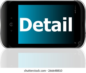 vector Marketing concept: smart phone with text detail on display. Mobile smart phone on White background